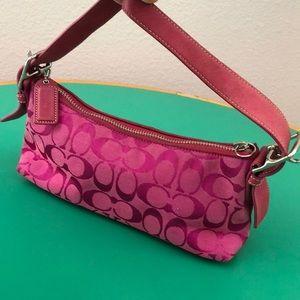 Coach Pink Monogrammed Small Shoulder Handbag